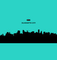 silhouette city on blue background flat vector image