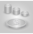 Silver coin with dollar sign vector image vector image