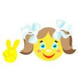 smiley girl with victoria gesture v vector image vector image