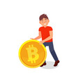 smiling young man with big golden bitcoin vector image