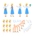 teacher flat cadtoon character set of fun vector image