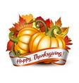 thanksgiving banner ribbon with happy vector image vector image