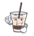 thumbs up white russian character cartoon vector image vector image
