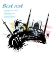 Travel Malaysia design in grunge style vector image vector image