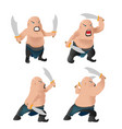 warrior old man character fight vector image vector image