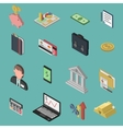 Bank Isometric Icon Set vector image vector image