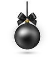 black christmas ball with ribbon and bow on white vector image vector image