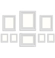 blank picture frame template set isolated on wall vector image vector image