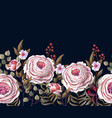 border with english pink roses vector image vector image