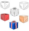 cartoon set gifts eps10 vector image vector image