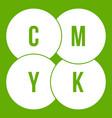 cmyk circles icon green vector image vector image