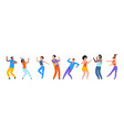 dancing people happy trendy men and women dancers vector image