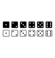 dice game dice icon with side cube from one to vector image