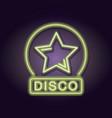 disco emblem neon lights vector image vector image