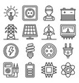 electricity and energy icons set on white vector image vector image