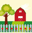 farm barn leafy tree and fence flowers garden vector image vector image