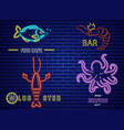 fish neon icons set lobster octopus and prawns vector image vector image