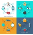 Fitness 4 flat icons square banner vector image vector image