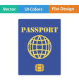 Flat design icon of passport with chip vector image