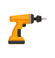 flat icon of orange cordless drill power vector image