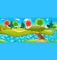 funny landscape with river trees and town on the vector image