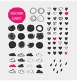 Hand drawn shapes icons elements and hearts vector image