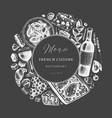 hand sketched french cuisine vintage design on vector image vector image