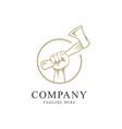 hand with axe icon symbol logo design template vector image vector image
