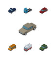 isometric car set of auto first-aid truck and vector image vector image