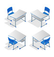 isometric set of school or college desk table with vector image