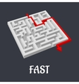Labyrinth puzzle with a fast short solution vector image