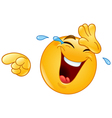 laughing with tears and pointing emoticon vector image vector image