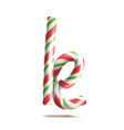 letter k 3d realistic candy cane alphabet vector image vector image