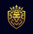 luxury lion king logo template vector image