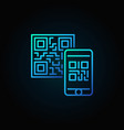 mobile phone scanning qr code blue linear vector image