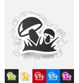 mushrooms paper sticker with hand drawn elements vector image