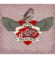 Old-school style tattoo card with bird flowers and vector image vector image