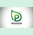 p leaf logo letter design with green leaf outline vector image vector image