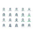 people in mask avatar line icons vector image