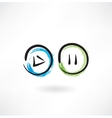 play pause buttons grunge icon vector image