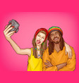 pop art rastafarian couple make selfie vector image
