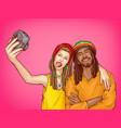pop art rastafarian couple make selfie vector image vector image