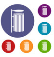public trash can icons set vector image vector image