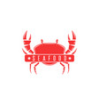red crab logo silhouette of a crustacean seafood vector image