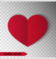 red paper heart isolated on transparent background vector image