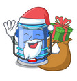 santa with gift bucket cylinder water in shape vector image vector image