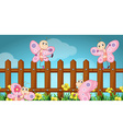 Scene with butterflies and wooden fence vector image vector image
