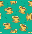 seamless pattern with cups of tea and lemon vector image vector image