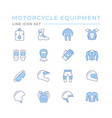set color line icons motorcycle equipment vector image vector image