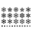 set flat snowflakes in line art style vector image vector image